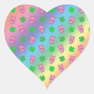 Cute rainbow pig shamrocks pattern sticker