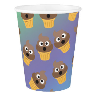 Cute Rainbow Poop Emoji Ice Cream Cone Pattern Paper Cup