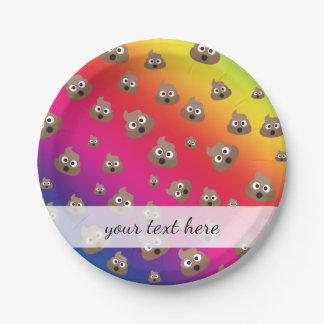 Cute Rainbow Poop Emoji Pattern 7 Inch Paper Plate