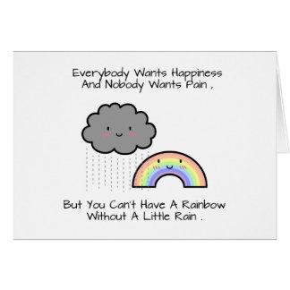 Cute Rainbow Rain Cloud Happiness Quote Card