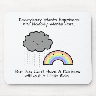 Cute Rainbow Rain Cloud Happiness Quote Mouse Mat