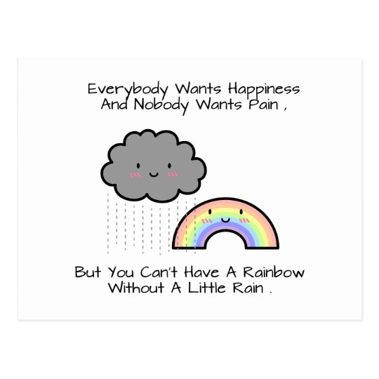 Cute Rainbow Rain Cloud Happiness Quote Postcard