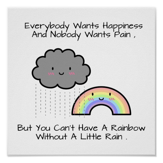 Cute Rainbow Rain Cloud Happiness Quote Poster
