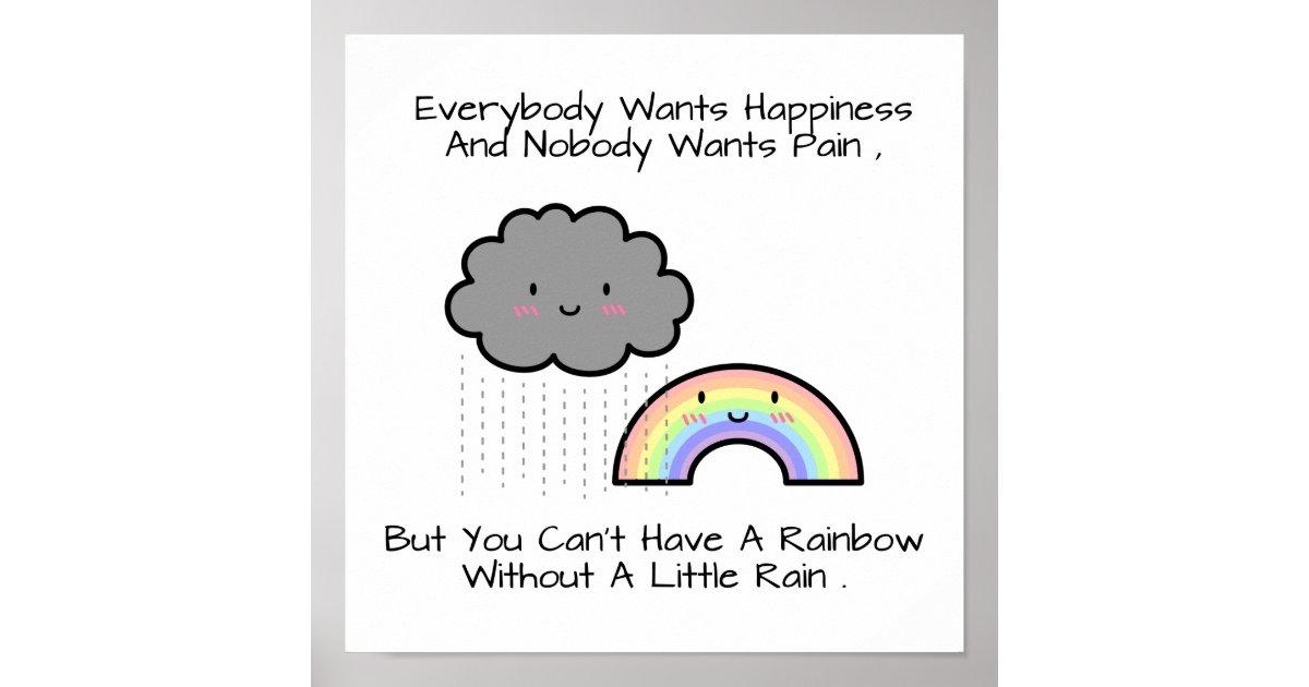 Cute Rainbow Rain Cloud Happiness Quote Poster | Zazzle.co.uk