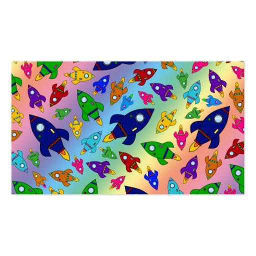 Cute rainbow rocket ships pattern business card template