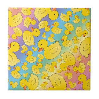 Cute rainbow rubber ducks small square tile
