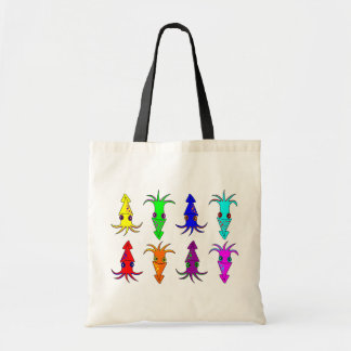 Cute Rainbow Squid Tote Bag