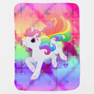 Cute Rainbow Unicorn Blanket Receiving Blankets