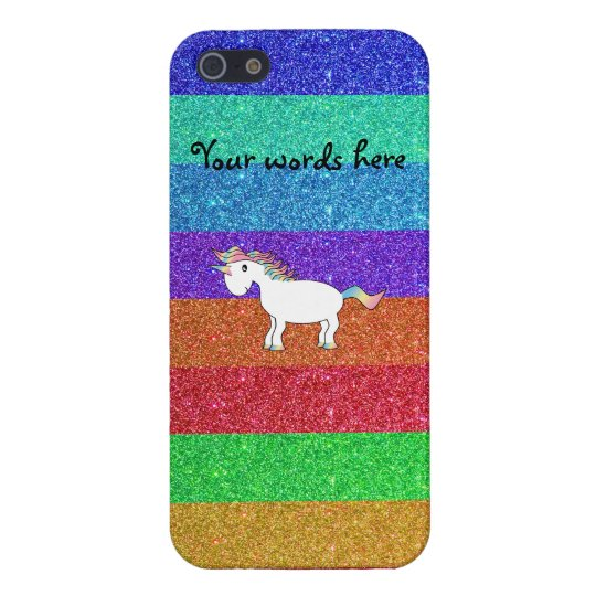 Cute rainbow unicorn glitter rainbow stripes iPhone 5/5S