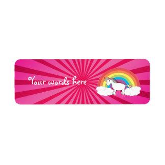 Cute rainbow unicorn label return address label
