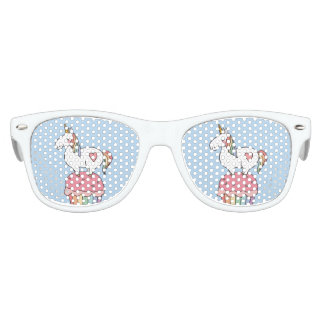 Cute Rainbow Unicorn on Birthday Cupcake Kids Sunglasses