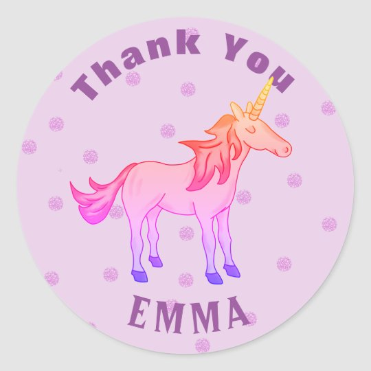 Cute Rainbow Unicorn Thank You Name Classic Round