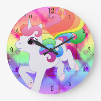 Cute Rainbow Unicorn Wall Clock