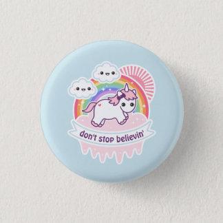 Cute Rainbow Unicorn with Clouds 3 Cm Round Badge