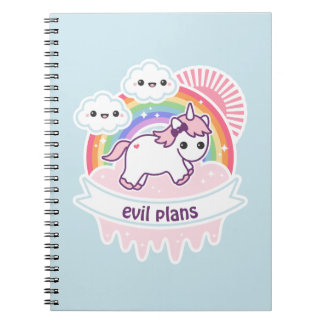 Cute Rainbow Unicorn with Clouds Notebook