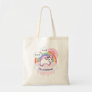 Cute Rainbow Unicorn with Clouds Tote Bag