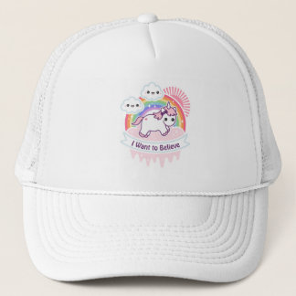 Cute Rainbow Unicorn with Clouds Trucker Hat