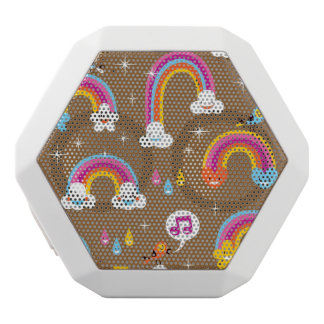 cute rainbows pattern white boombot rex bluetooth speaker