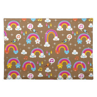 cute rainbows pattern placemat