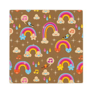 cute rainbows pattern wood coaster