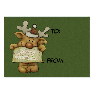 Cute Raindeer Holiday Tags Pack Of Chubby Business Cards