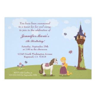 Cute rapunzel tower girl s birthday party invite