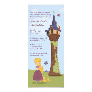 Cute rapunzel tower girl's birthday party invite