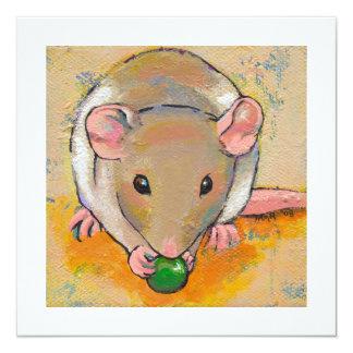 Cute rat adorable pet fun art Cuteness with a Pea 13 Cm X 13 Cm Square Invitation Card
