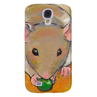 Cute rat adorable pet fun art Cuteness with a Pea Galaxy S4 Case