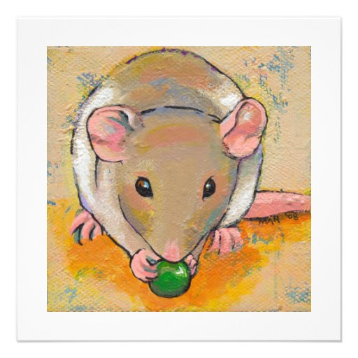 Cute rat adorable pet fun art Cuteness with a Pea Custom Invite
