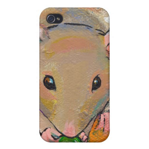 Cute rat adorable pet fun art Cuteness with a Pea iPhone 4/4S Cases