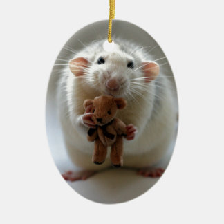 Cute Rat Holding teddy Christmas Ornament