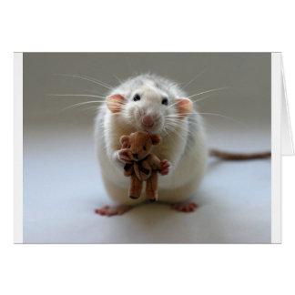 Cute Rat Holding teddy Greeting Card