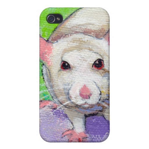 Cute rat listening fun colorful pet art white rats iPhone 4/4S cases