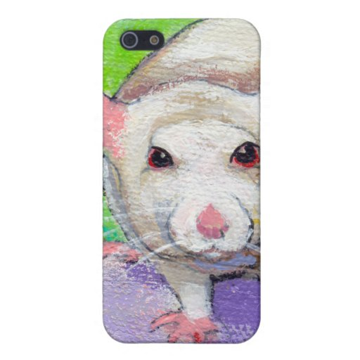 Cute rat listening fun colorful pet art white rats covers for iPhone 5
