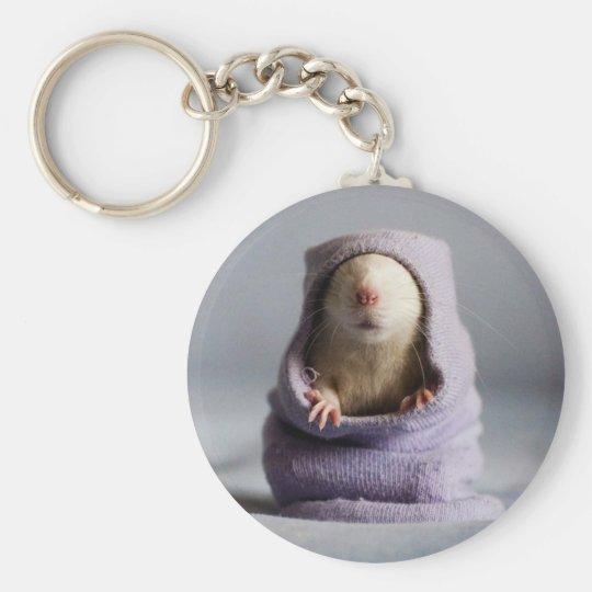 cute rat peek a boo key ring