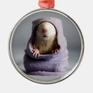 cute rat peek a boo Silver-Colored round decoration