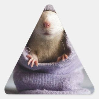 cute rat peek a boo triangle sticker
