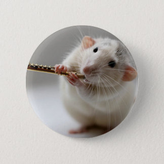 Cute rat playing flute 6 cm round badge