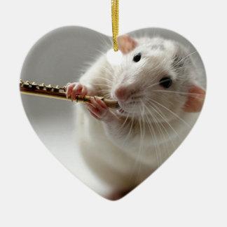 Cute rat playing flute ceramic heart decoration
