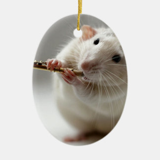 Cute rat playing flute ceramic oval decoration