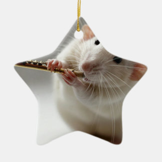 Cute rat playing flute ceramic star decoration