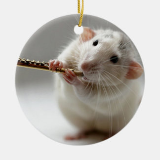 Cute rat playing flute round ceramic decoration