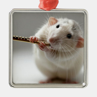 Cute rat playing flute Silver-Colored square decoration