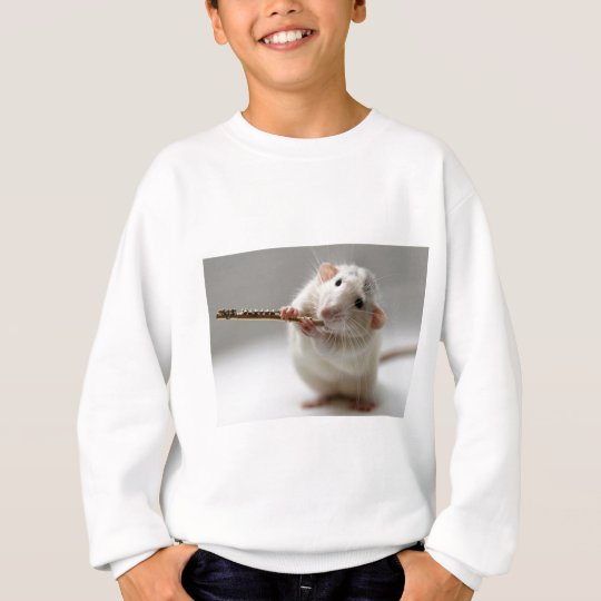 Cute rat playing flute sweatshirt