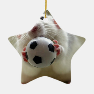 Cute rat playing soccer ceramic star decoration