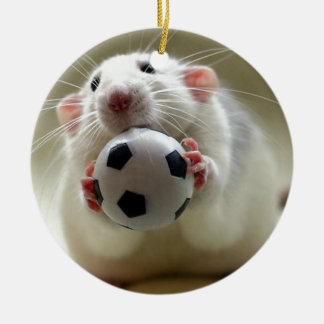 Cute rat playing soccer round ceramic decoration