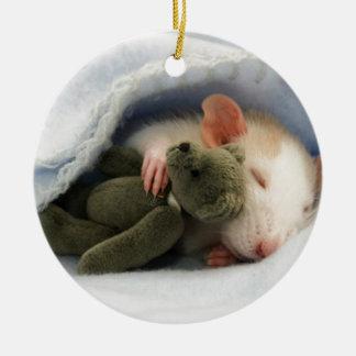 cute rat sleeping with teddy round ceramic decoration