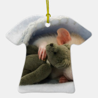 cute rat sleeping with teddy ceramic T-Shirt decoration