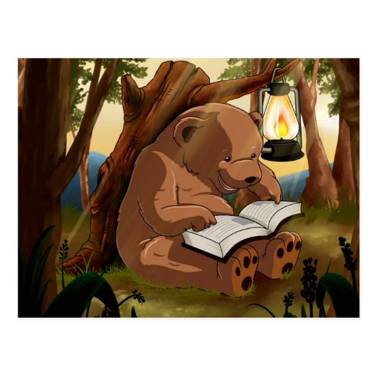 Cute Reading Bear Postcard